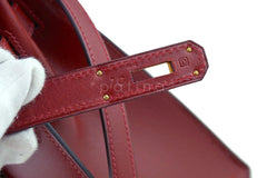 Hermes Rouge H Red 32cm Box calf Kelly Sellier Bag - Boutique Patina  - 16