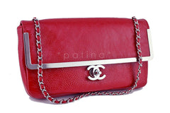 Chanel Red Textured Patent Luxe Frame Classic Flap Bag - Boutique Patina  - 2