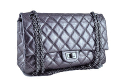 Chanel Dark Silver Distressed Calf 226 Classic Reissue 2.55 Flap Bag - Boutique Patina  - 2