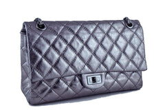 Chanel Dark Silver Distressed Calf 226 Classic Reissue 2.55 Flap Bag - Boutique Patina  - 3