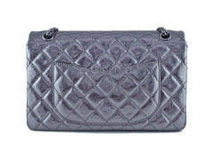 Chanel Dark Silver Distressed Calf 226 Classic Reissue 2.55 Flap Bag - Boutique Patina  - 5