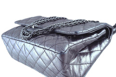 Chanel Dark Silver Distressed Calf 226 Classic Reissue 2.55 Flap Bag - Boutique Patina  - 8