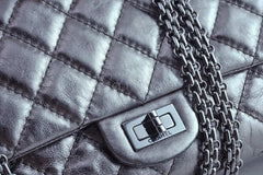 Chanel Dark Silver Distressed Calf 226 Classic Reissue 2.55 Flap Bag - Boutique Patina  - 9