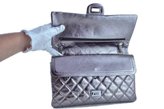 Chanel Dark Silver Distressed Calf 226 Classic Reissue 2.55 Flap Bag - Boutique Patina  - 10