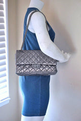 Chanel Dark Silver Distressed Calf 226 Classic Reissue 2.55 Flap Bag - Boutique Patina  - 15
