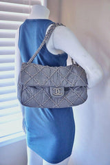 Chanel Gray 14in. Maxi Ultra Stitch Jumbo Classic Flap Bag 61754 - Boutique Patina  - 15