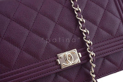 NWT 16B Chanel Purple Caviar Boy Classic Quilted WOC Wallet on Chain Flap Bag - Boutique Patina  - 6