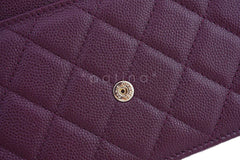 NWT 16B Chanel Purple Caviar Boy Classic Quilted WOC Wallet on Chain Flap Bag - Boutique Patina  - 8