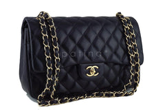 Chanel Black Lambskin Jumbo 2.55 Classic Double Flap Bag - Boutique Patina  - 2