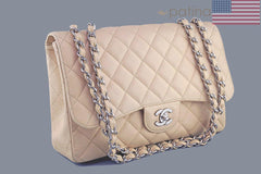Chanel Beige Clair Caviar Jumbo 2.55 Classic Flap Bag - Boutique Patina  - 2