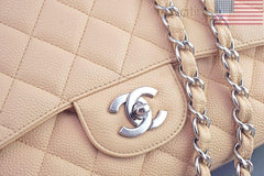 Chanel Beige Clair Caviar Jumbo 2.55 Classic Flap Bag - Boutique Patina  - 7