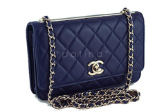 NWT 16K Chanel Blue Trendy CC Classic Wallet on Chain WOC Flap Bag Rare - Boutique Patina  - 2