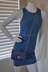 NWT 16K Chanel Blue Trendy CC Classic Wallet on Chain WOC Flap Bag Rare - Boutique Patina  - 14