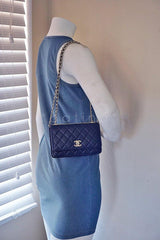 NWT 16K Chanel Blue Trendy CC Classic Wallet on Chain WOC Flap Bag Rare - Boutique Patina  - 15