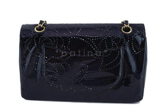 Chanel Black Patent Camelia Pattern Classic 2.55 Flap Bag