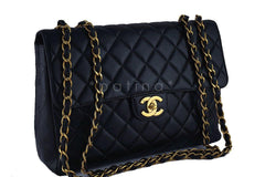 Chanel Black Lambskin Jumbo Quilted Classic 2.55 Flap Bag - Boutique Patina  - 2