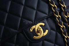 Chanel Black Lambskin Jumbo Quilted Classic 2.55 Flap Bag - Boutique Patina  - 7
