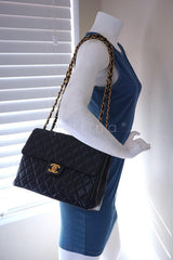 Chanel Black Lambskin Jumbo Quilted Classic 2.55 Flap Bag - Boutique Patina  - 13