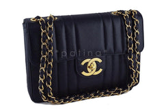 Chanel Black Vintage Caviar Mademoiselle Classic Jumbo Flap Bag - Boutique Patina  - 2