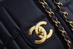 Chanel Black Vintage Caviar Mademoiselle Classic Jumbo Flap Bag - Boutique Patina  - 9
