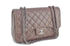 Chanel Taupe Beige Caviar Jumbo 2.55 Classic Flap Bag - Boutique Patina  - 2