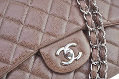 Chanel Taupe Beige Caviar Jumbo 2.55 Classic Flap Bag - Boutique Patina  - 8