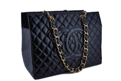 Chanel Black Patent Vintage Grand Shopper Tote GST Chunky Chain Bag - Boutique Patina  - 2