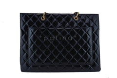 Chanel Black Patent Vintage Grand Shopper Tote GST Chunky Chain Bag - Boutique Patina  - 5