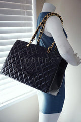 Chanel Black Patent Vintage Grand Shopper Tote GST Chunky Chain Bag - Boutique Patina  - 14