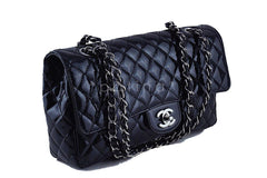 Chanel Black Glossy Patent Quilted Classic Label Flap Bag - Boutique Patina  - 2