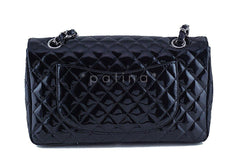 Chanel Black Glossy Patent Quilted Classic Label Flap Bag - Boutique Patina  - 5