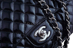 Chanel Black Glossy Patent Quilted Classic Label Flap Bag