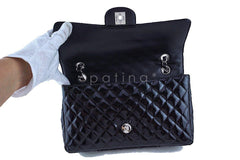 Chanel Black Glossy Patent Quilted Classic Label Flap Bag - Boutique Patina  - 9