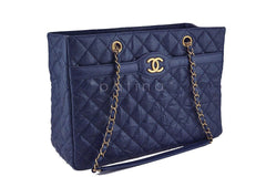 Chanel Navy Blue Caviar Classic Quilted Shopper Tote Bag - Boutique Patina  - 2