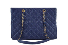 Chanel Navy Blue Caviar Classic Quilted Shopper Tote Bag - Boutique Patina  - 5