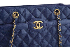 Chanel Navy Blue Caviar Classic Quilted Shopper Tote Bag - Boutique Patina  - 8