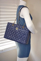 Chanel Navy Blue Caviar Classic Quilted Shopper Tote Bag - Boutique Patina  - 13