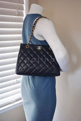 Chanel Black Classic Quilted Shopper Tote Bag - Boutique Patina  - 13