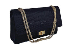 Chanel Black Quilted Satin 2.55 Reissue 227 Classic Double Flap Bag - Boutique Patina  - 2