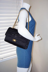 Chanel Black Quilted Satin 2.55 Reissue 227 Classic Double Flap Bag - Boutique Patina  - 14