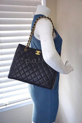 Chanel Black Caviar Classic Quilted Shopper Tote Bag - Boutique Patina  - 13