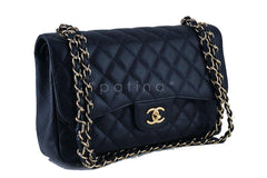 Chanel Black Caviar Jumbo 2.55 Classic Double Flap Bag GHW - Boutique Patina  - 2