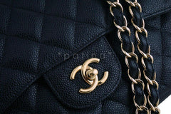 Chanel Black Caviar Jumbo 2.55 Classic Double Flap Bag GHW - Boutique Patina  - 8