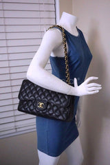 Chanel Black Caviar Jumbo 2.55 Classic Double Flap Bag GHW - Boutique Patina  - 14