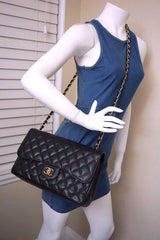 Chanel Black Caviar Jumbo 2.55 Classic Double Flap Bag GHW - Boutique Patina  - 15