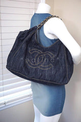 Chanel Blue Dark Denim XL Giant Coco Cabas Tote Bag