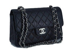Chanel Black Lambskin Medium-Small Classic 2.55 Double Flap Bag SHW - Boutique Patina  - 2