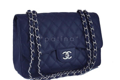 Chanel Navy Blue Caviar Jumbo 2.55 Classic Flap Bag - Boutique Patina  - 2