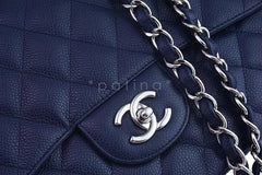 Chanel Navy Blue Caviar Jumbo 2.55 Classic Flap Bag - Boutique Patina  - 8