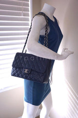 Chanel Navy Blue Caviar Jumbo 2.55 Classic Flap Bag - Boutique Patina  - 14